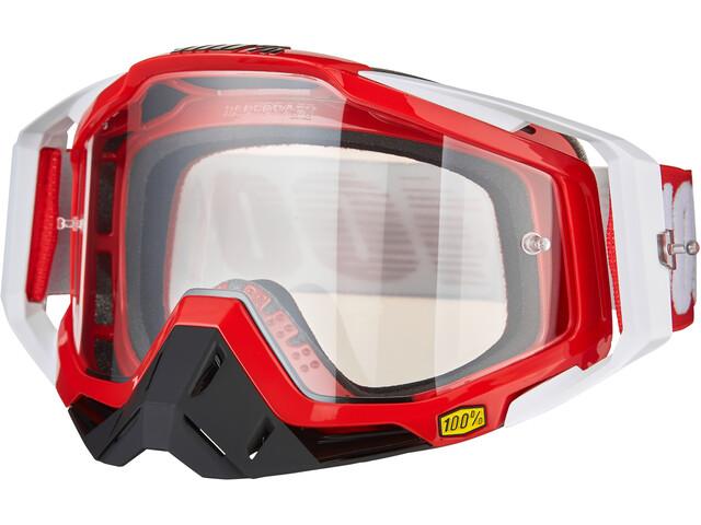 100% Racecraft Anti Fog Clear Goggles fire red